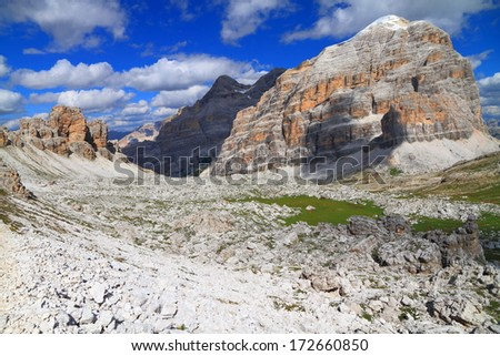 Travenanzes valley and Tofana di Rozes, Dolomite Alps, Italy #172660850