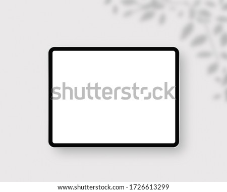 Modern tablet with blank white screen. Mockup scene. Photo mockup with clipping path.