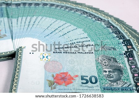 Malaysia currency of Malaysian ringgit banknotes .Paper money of fifty ringgit notes on closeup. Financial concept.