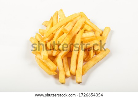sliced potatoes, fries, fried with salt, on an isolated white background #1726654054