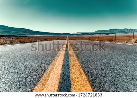 route 66 empty street in California Royalty-Free Stock Photo #1726721833