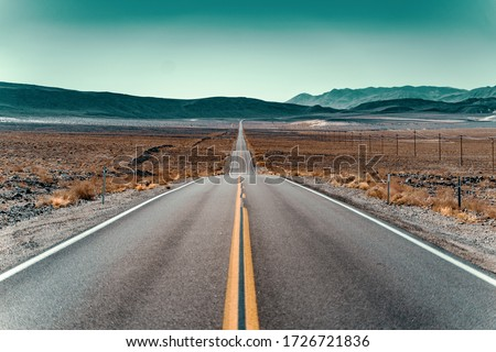 route 66 empty street in California Royalty-Free Stock Photo #1726721836