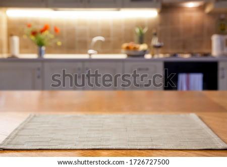 blurred kitchen interior  and desk space home background #1726727500
