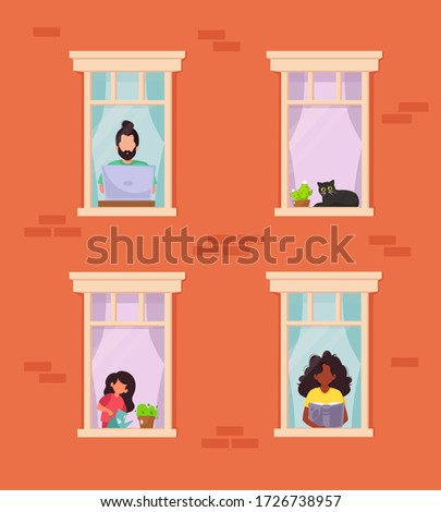 Stay home concept. People looking out windows. Social isolation during pandemic. Vector illustration in flat style #1726738957
