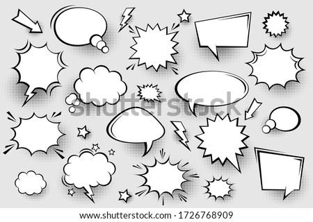 Collection of empty comic speech bubbles with halftone shadows. Hand drawn retro cartoon stickers. Pop art style. Vector illustration. #1726768909