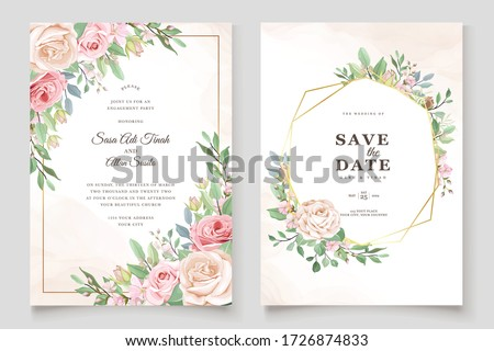 beautiful wedding invitation card with floral wreath Royalty-Free Stock Photo #1726874833