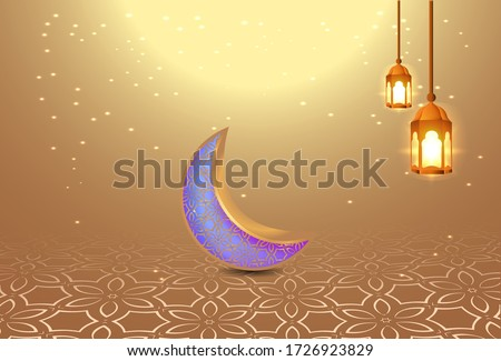background of Eid al-Fitr with lights and crescent moon, gold color #1726923829