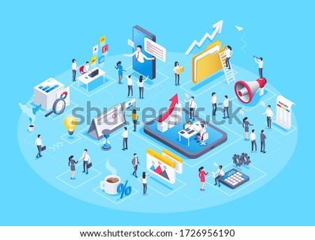 isometric vector image on a blue background, business people work in the office and a set of business icons in the form of a composition of related elements Royalty-Free Stock Photo #1726956190
