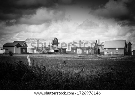 A black and white vignette photo of a farm field and a large collection of wooden barns under large white clouds.