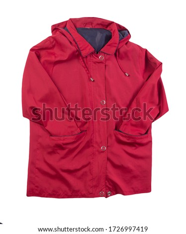 female  red coat with a hood Isolated on a white background. autumn women's coat not wet from the rain top view #1726997419