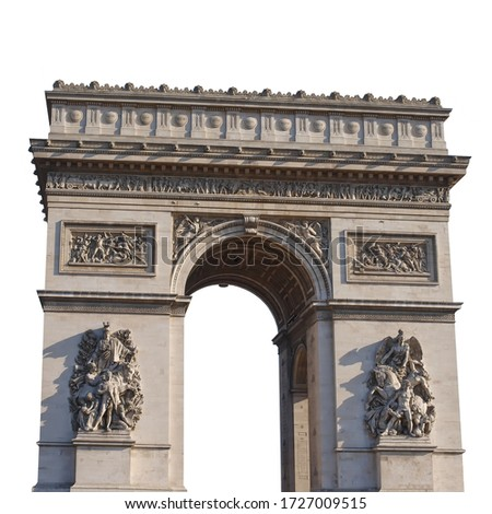 The Arc de Triomphe de l'Etoile isolated on white background. It is one of the most famous monuments in Paris, France #1727009515
