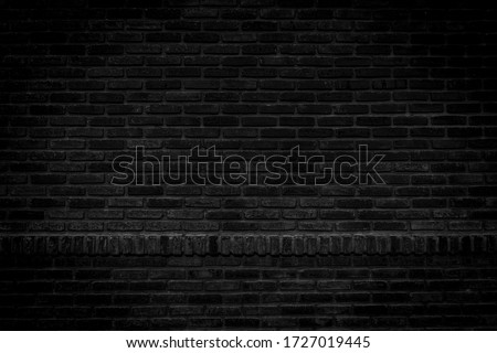 Black brick walls that are not plastered background and texture. The texture of the brick is black. Background of empty brick basement wall. #1727019445