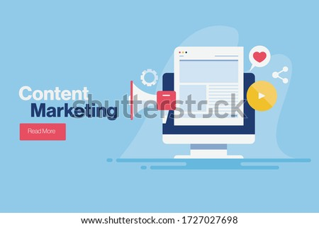 Content marketing, Digital advertising, Website marketing, Social media marketing - conceptual flat design vector illustration with icons and texts #1727027698