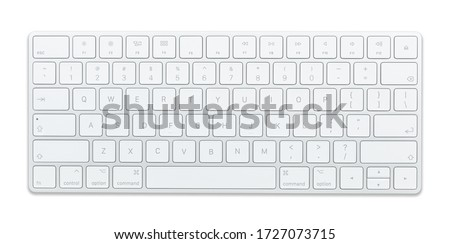 Aluminum computer keyboard Beautiful modern design, isolated on a white background. Royalty-Free Stock Photo #1727073715