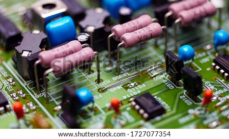 Close-Up Resistors and electronics on board electrical circuits. #1727077354