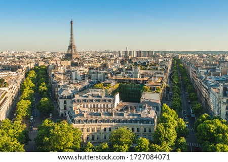 skyline of paris with eiffel tower at dusk Royalty-Free Stock Photo #1727084071