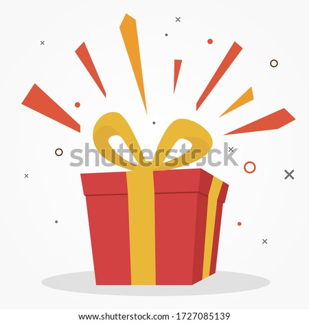 surprise red gift box, birthday celebration, special give away package, loyalty program reward, wonder gift with exclamation mark, vector icon, flat illustration Royalty-Free Stock Photo #1727085139