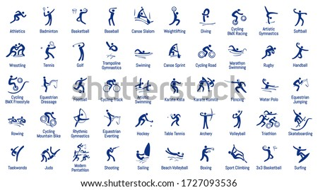 Summer sports icons set, vector pictograms for web, print and other projects. Royalty-Free Stock Photo #1727093536
