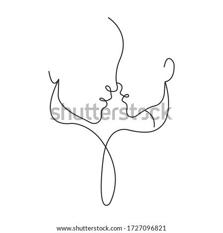 Loving couple is connected by one line. Symbol of love, family and unity. Minimalism style. Suitable for decoration, tattoos, albums, cards, wallpapers, banners, printing on t-shirts. Isolated vector #1727096821