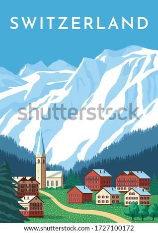 Switzerland travel retro poster, nature vintage banner. Summer Alps landscape, mountain Austria village. Hand drawing flat vector illustration. Royalty-Free Stock Photo #1727100172