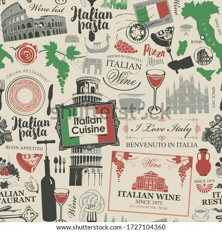 Vector abstract seamless pattern on the theme of Italy and Italian cuisine in the colors of the Italian flag in retro style. Suitable for wallpaper, wrapping paper, fabric Royalty-Free Stock Photo #1727104360
