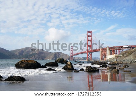 Golden Gate Bridge is Red Bridge seen from Baker Beach in San Francisco, California, United states , USA - Holiday Travel famous building Landmark - Nature Park and outdoor sightseeing #1727112553