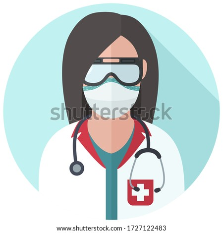 medical icon woman doctor. Image Doctor in mask and with stethoscope. Avatar Medic woman Illustration in a flat style.
