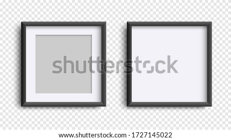 Photo Frames isolated on white, realistic square black frames mockup, vector set . Empty framing for your design. Vector template for picture, painting, poster, lettering or photo gallery Royalty-Free Stock Photo #1727145022