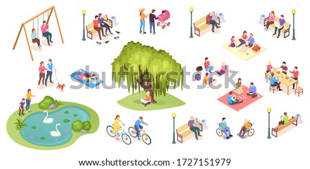 People in park leisure and outdoor activity, family picnic and summer rest, vector isometric isolated elements. City park isometry icons of people sitting on bench, playing on lawn and reading book Royalty-Free Stock Photo #1727151979