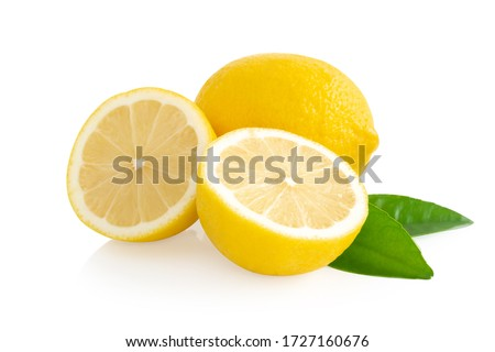Closeup fresh lemon fruit slice isolated on white background, food and healthy concept #1727160676