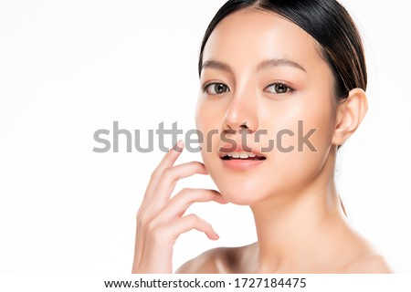 Beautiful Young Asian Woman with Clean Fresh Skin. Face care, Facial treatment, Cosmetology, beauty and healthy skin and cosmetic concept, woman beauty skin isolated on white background. #1727184475