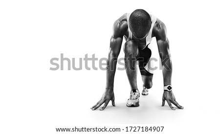 Sports background. Runner on the start. Black and white image isolated on white.  Royalty-Free Stock Photo #1727184907