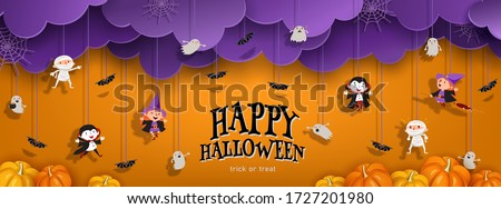 Happy Halloween orange banner trick or treat with purple clouds, witch, vampire, ghost, bats, pumpkin in paper cut style. Party invitation background with text. Vector illustration #1727201980