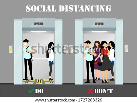 A vector design concept of Social Distancing in the elevator during Coronavirus (Covid-19) pandemic. Info-graphic do and don't of maintain social distancing illustration. #1727288326