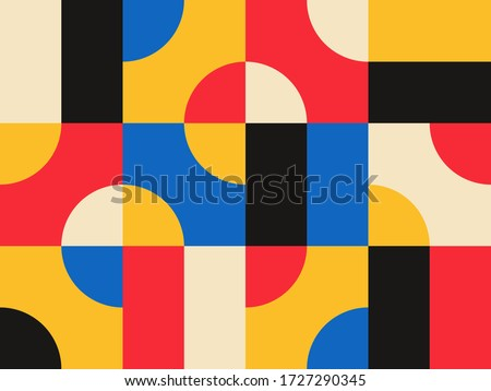 Abstract vector geometric pattern design in Bauhaus style Royalty-Free Stock Photo #1727290345
