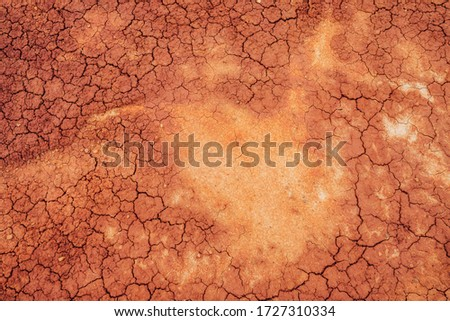 Nature background of cracked dry lands. Natural texture of soil with cracks. Broken clay surface of barren dryland wasteland close-up. Full frame to terrain with arid climate. Lifeless desert on earth Royalty-Free Stock Photo #1727310334