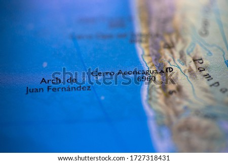 Geographical map location of Aconcagua in Agentina South America continent on atlas