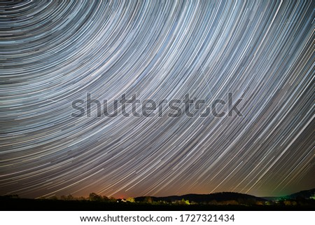 Star trails and traces of planes, satellites and falling stars during the April Lyrids 2020 (April 23rd). Composing of 15 sec exposures