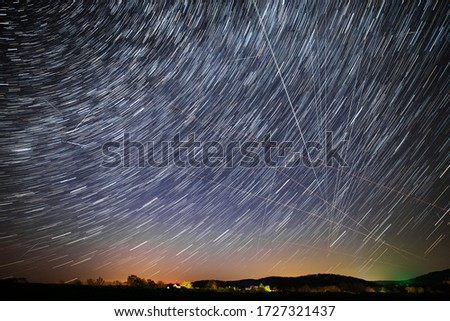 Star trails and traces of planes, starlink satellites and falling stars during the April Lyrids 2020 (April 23rd). Composing of 15 sec exposures