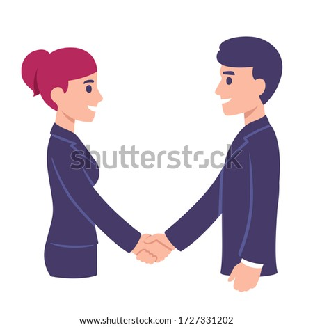 Business man and woman shaking hands. People in office meeting, workplace communication. Modern cartoon style clip art illustration.