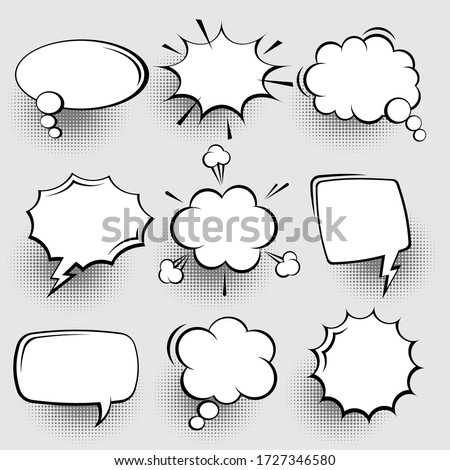 Collection of empty comic speech bubbles with halftone shadows. Hand drawn retro cartoon stickers. Pop art style. Vector illustration. #1727346580