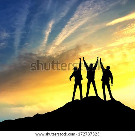 Climbers team on the top. Sport and active  life concept #172737323