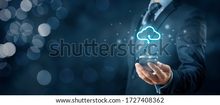 Cloud computing concept - connect smart phone to cloud. Businessman or information technologist with cloud computing icon and smart phone. #1727408362