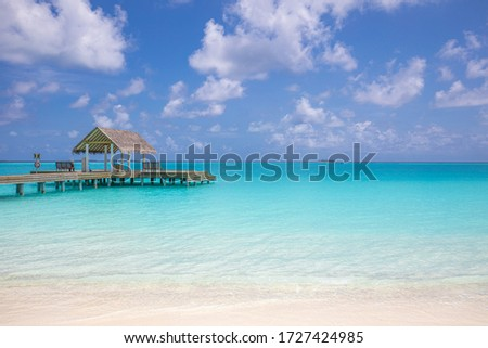 Over water luxurious spa in the tropical blue lagoon of Maldives. Exotic sea ocean coast, beach. Paradise island with copy space, summer landscape seascape beach background. Luxury travel vacation #1727424985