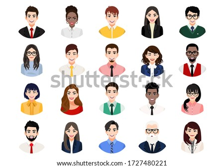 Big bundle of different people avatars. Set of male and female portraits. Men and women avatar characters. User pic, face icons for representing person in a video game, Internet forum, account. Vector #1727480221