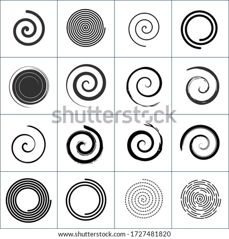 Design elements with spiral twirl motion. Vector set. Stock Vector illustration isolated on white background.