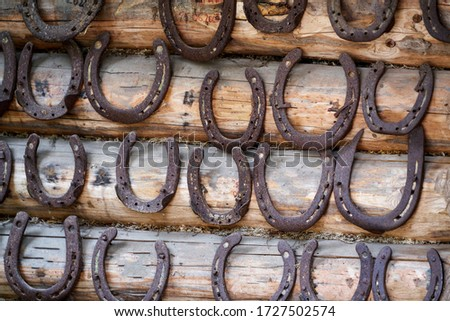 Old rusty horseshoe on a wooden background. Royalty-Free Stock Photo #1727502574