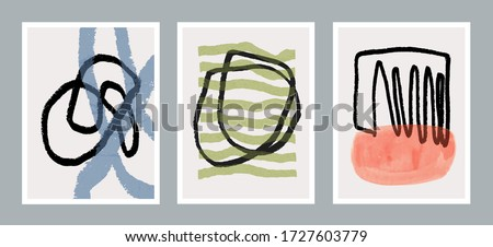 Set of three creative minimalist hand painted illustration for wall decoration, postcard or brochure design. Vector EPS10. #1727603779