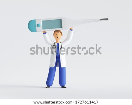 3d render, cartoon character doctor wearing uniform and stethoscope holding big thermometer above, medical clip art isolated on white background. Blank mockup with copy space.