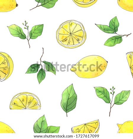 Lemons. High-quality hand-drawn watercolor eamless pattern with illustrations of lemons and leaves